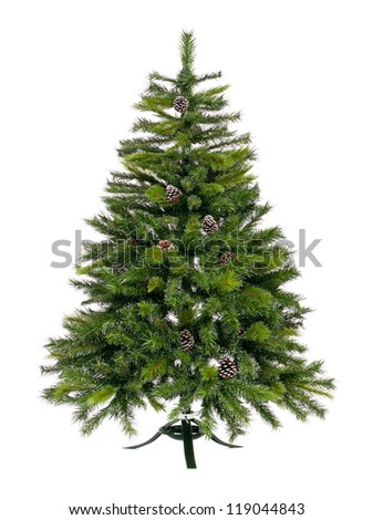 Artificial Christmas fir tree isolated on white background - stock photo