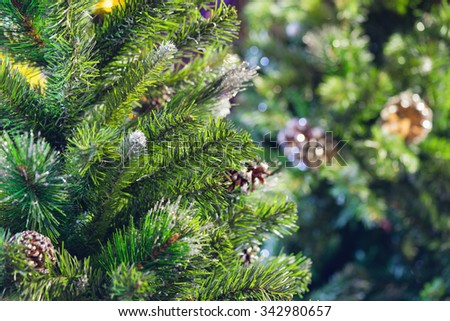 Artificial Christmas pine tree background - stock photo