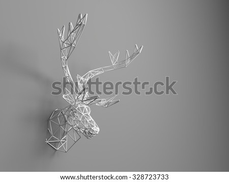 Artificial deer head hanging on the wall. Polygonal head of a deer. Deer from the three-dimensional grid. The object of art on the wall. Volume model. Meshwork. - stock photo