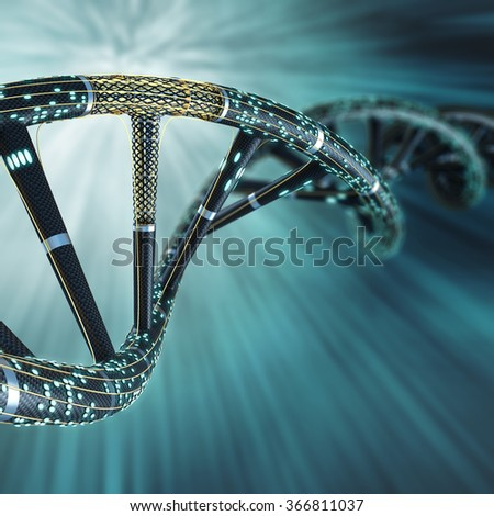 Artificial DNA molecule, the concept of artificial intelligence, on a dark background - stock photo