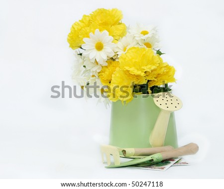 Artificial flowers in a decorative watering can with mini gardening implements and seen packets on an isolated white background with room on the left for copy space - stock photo