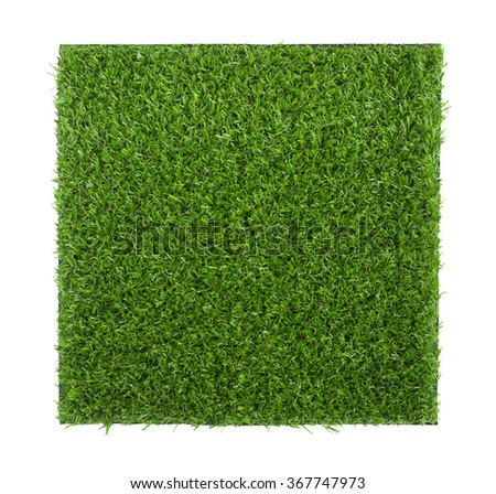 Artificial grass sheet isolated on white background (ready to make selection with clipping path)  - stock photo