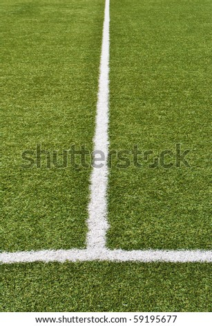 artificial grass with white lines for football field - stock photo