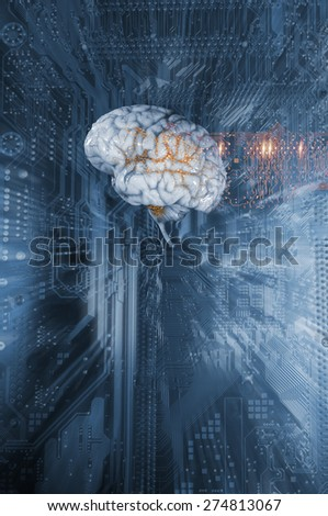 artificial intelligence and communication, human brain and computer-parts - stock photo