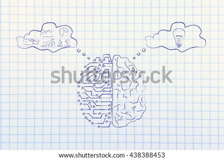 artificial intelligence and human brain comparison design, different thought bubbles with data processing vs intuition - stock photo