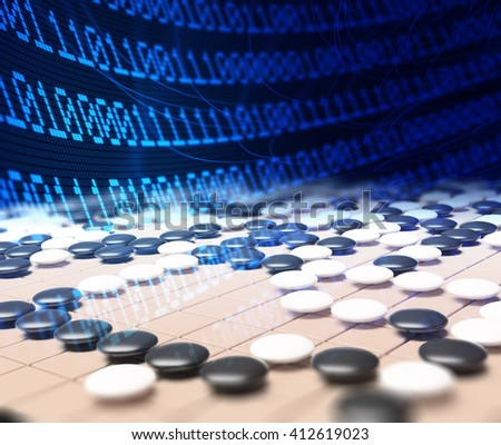Artificial intelligence competing in the game of go - 3D illustration - stock photo