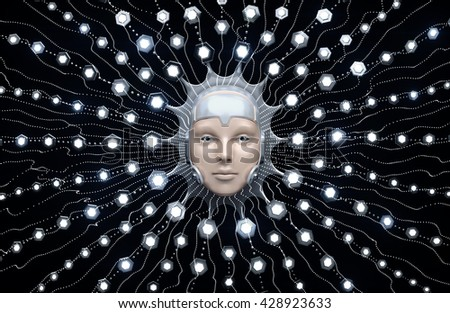 Artificial Intelligence. Composition on the subject of Future Technologies. 3d rendering graphics. - stock photo