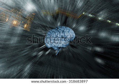 artificial intelligence, human brain against computers circuit-board, zoom effect - stock photo