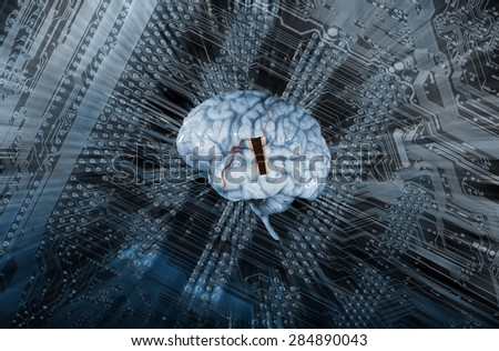 artificial intelligence, human brain and microchip, electrodes and future communication - stock photo