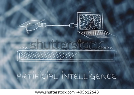 artificial intelligence; laptop and graduation cap connected by plug, with messy binary code being processed on the screen - stock photo