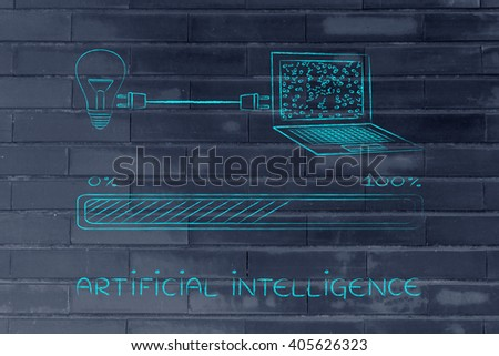 artificial intelligence: lightbulb and laptop connected by plug, with messy binary code being processed on the screen - stock photo