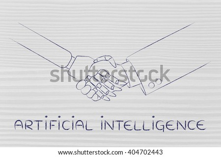 artificial intelligence: man and robot shaking hands, concept of innovation to help with various tasks - stock photo