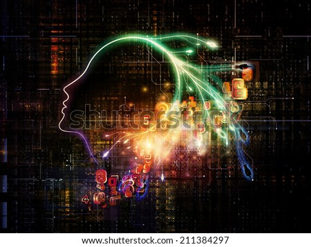 Artificial Intelligence series. Abstract design made of human profile and numbers on the subject of thinking, logic, computers and future technology - stock photo