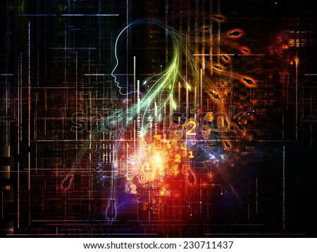 Artificial Intelligence series. Background design of human profile and numbers on the subject of thinking, logic, computers and future technology - stock photo