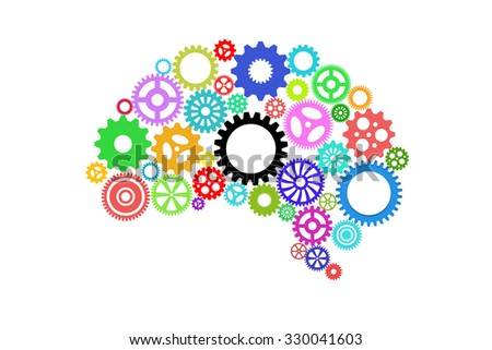 Artificial intelligence with human brain shape and gears - stock photo