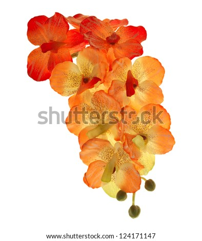 artificial of blossom orchid flowers bouquet isolated on white background - stock photo