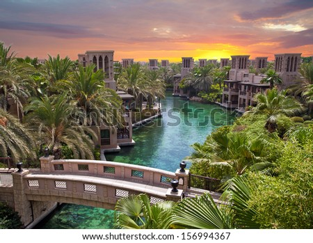 Artificial river in Dubai, Saudi Arabia - stock photo