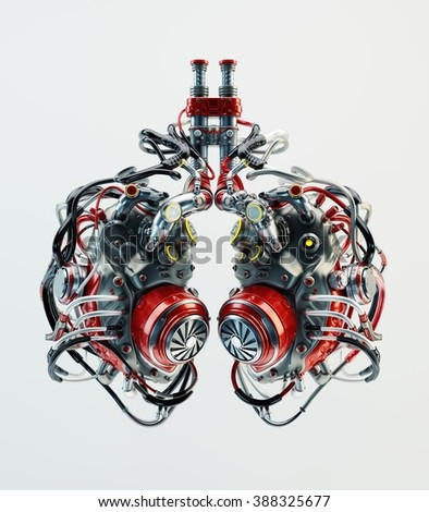 Artificial robotic lungs. Futuristic replacement parts - stock photo
