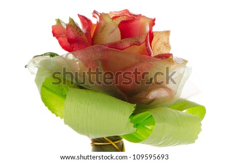 Artificial rose bouquet isolated on white background. - stock photo