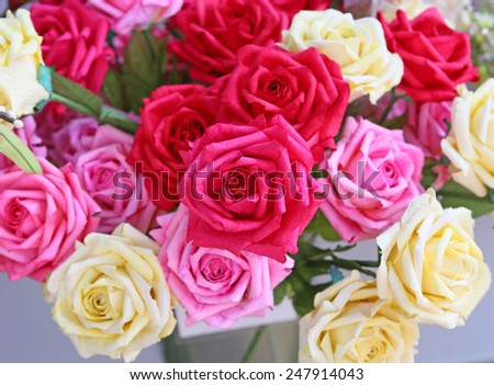 artificial roses flowers - stock photo
