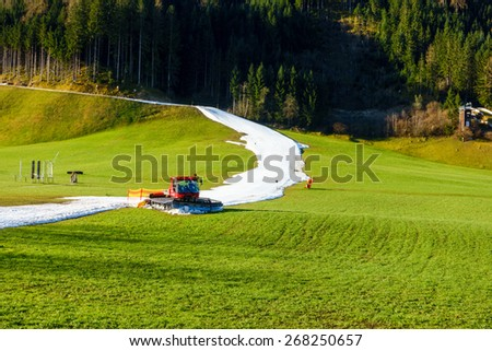 Artificial snow slopes in spring - stock photo