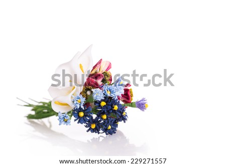 artificials flowers Isolated on white background - stock photo