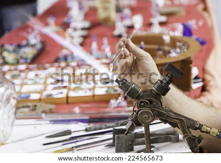 Artisan glass fusing market, workshop and sales - stock photo