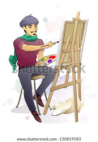 Artist at Work/ The illustration of the Artist Painting a Canvas on an Easel - stock photo
