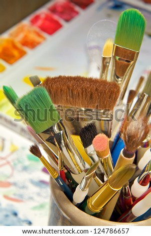 Artist Choice of Brushes - stock photo