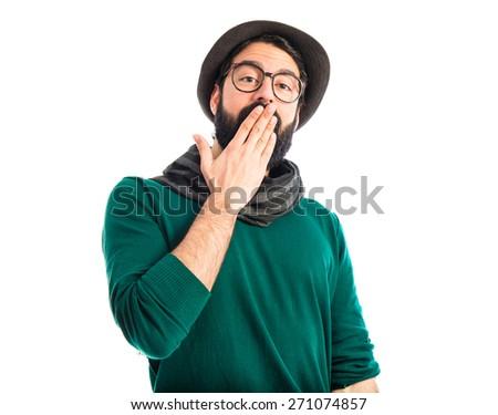 Artist doing surprise gesture  - stock photo