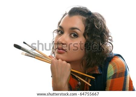 artist-girl - stock photo