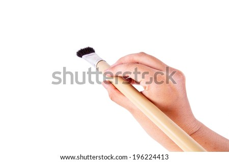 Artist Hand Holding Paintbrush Brush Ready to Paint in Art Work Concept and Idea isolated on white background. - stock photo