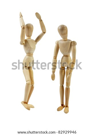 Artist Mannequin Grumbling, isolated wood human model - stock photo