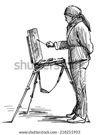 artist on the plein air - stock photo
