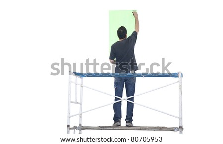 Artist painting isolated on white - stock photo