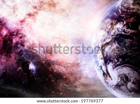 Artist rendition of Earth and galaxy at creation (Collage images from www.nasa.gov.) - stock photo
