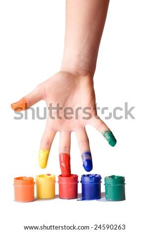 Artist's hand - stock photo