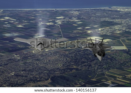 Artist's impression of an unmarked drone as it flies along side another aircraft over Southern California. - stock photo