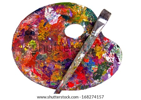 Artist's Palette With Brush - stock photo