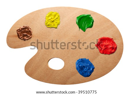 Artist's palette with multiple colors isolated - stock photo