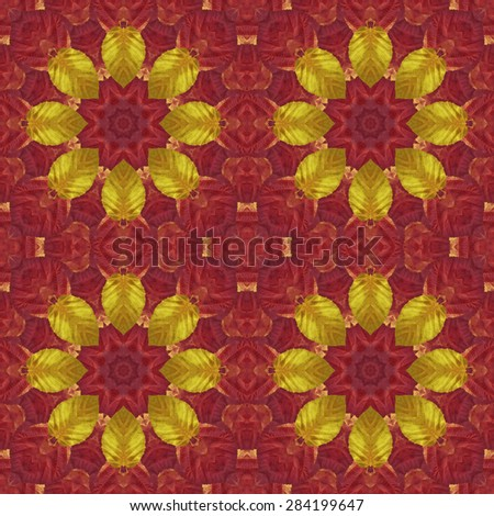 Artistic Background, Abstract Seamless Floral Pattern with Colorful Leaves of Plants - stock photo