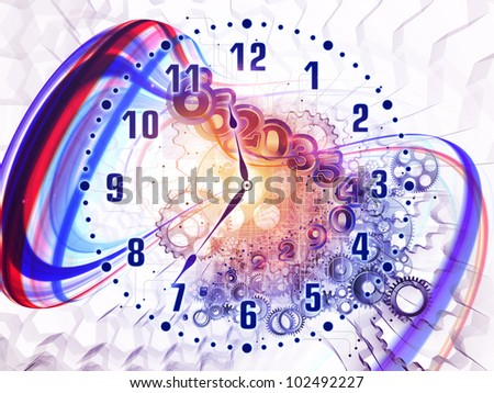Artistic background for use with projects on scheduling, temporal and time related processes, deadlines, progress, past, present and future, made of gears, clock elements, dials and swirly lines - stock photo