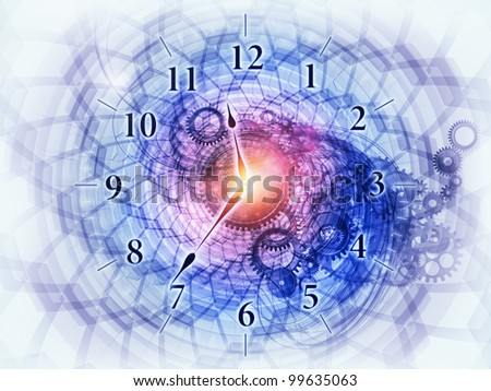 Artistic background for use with projects on scheduling, time related processes, deadlines, progress, past, present and future, made of gears, clock elements, dials and dynamic swirly lines - stock photo