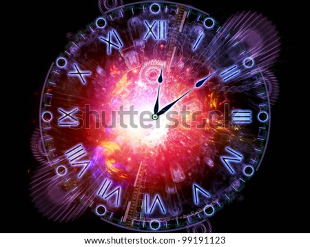 Artistic background for use with projects on time sensitive issues, deadlines, scheduling, temporal processes, past, present and future, made of clock hands, gears, lights and abstract design elements - stock photo