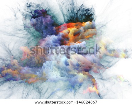 Artistic background made of bursting strands of fractal smoke and paint for use with projects on design, science, technology and creativity - stock photo