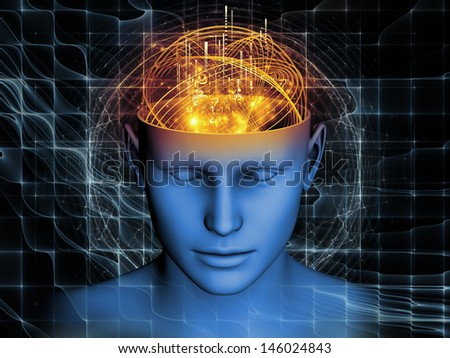 Artistic background made of cutout of male head and symbolic elements for use with projects on human mind, consciousness, imagination, science and creativity - stock photo