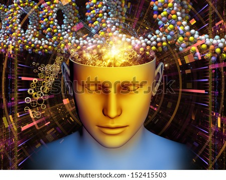 Artistic background made of human head and symbolic elements for use with projects on human mind, consciousness, imagination, science and creativity - stock photo