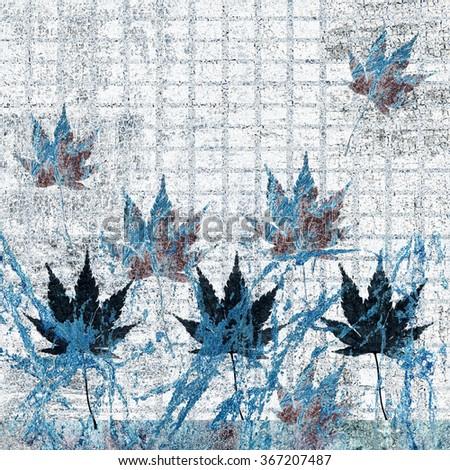 Artistic blue autumn background - stock photo