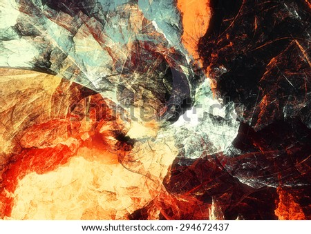 Artistic bright color paints texture. Abstract warm background. Modern futuristic pattern for wallpaper, interior, album, flyer cover, poster, booklet. Fractal artwork for creative graphic design. - stock photo