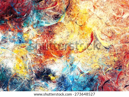Artistic bright texture of paints. Abstract beautiful colorful background. Modern futuristic pattern for wallpaper, interior, flyer cover, poster, booklet. Fractal artwork for creative graphic design. - stock photo
